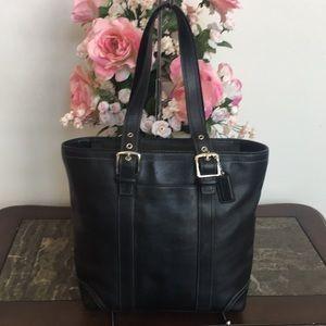 COACH Hampton Black Leather Tote  Bag F10194 EUC